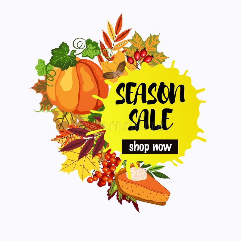 Conception de vente de saison avec les feuilles de chute et le tarte de potiron illustration libre de droits