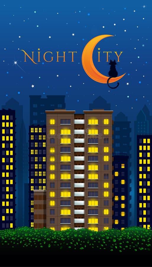 Conception de ville de nuit avec le chat et la lune images stock