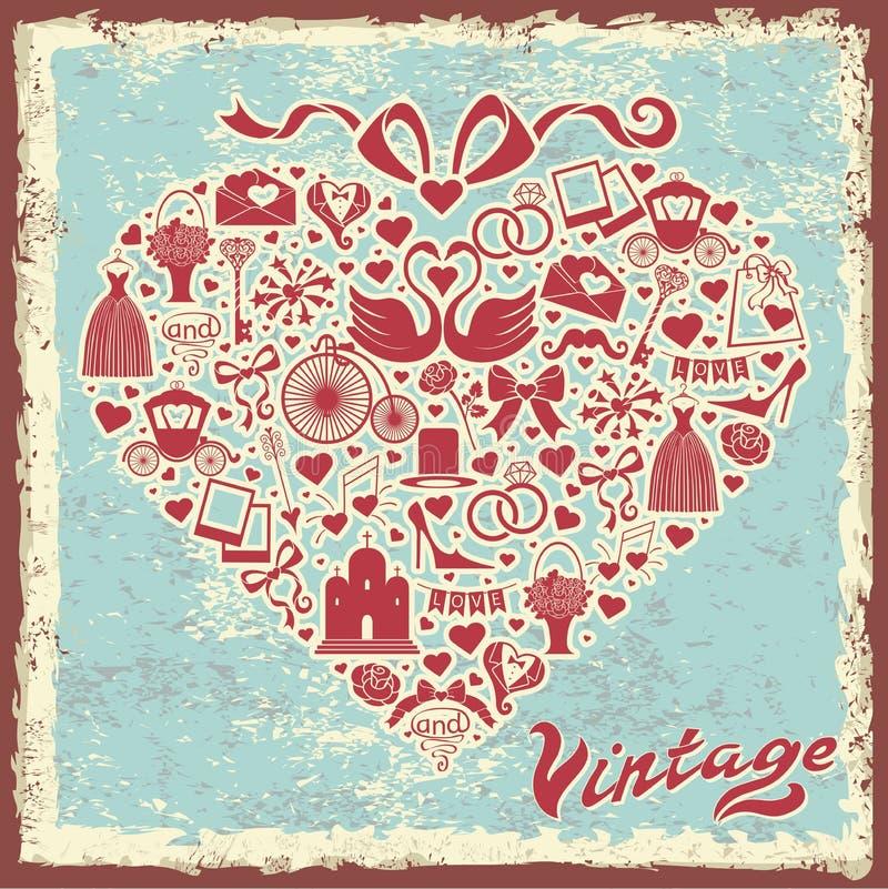 Conception de vintage avec l'article de mariage en composition en coeurs illustration de vecteur