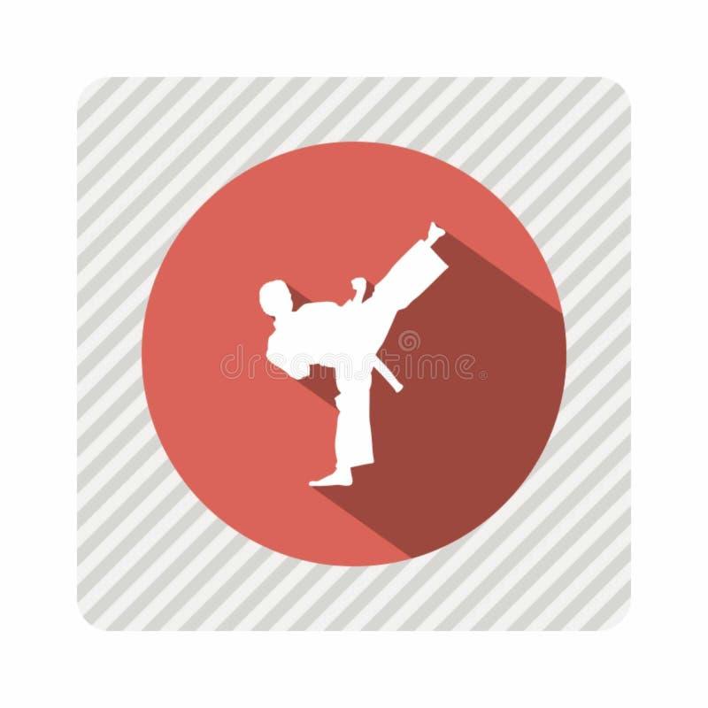 Conception de vintage d'icône de coup-de-pied de karaté illustration libre de droits