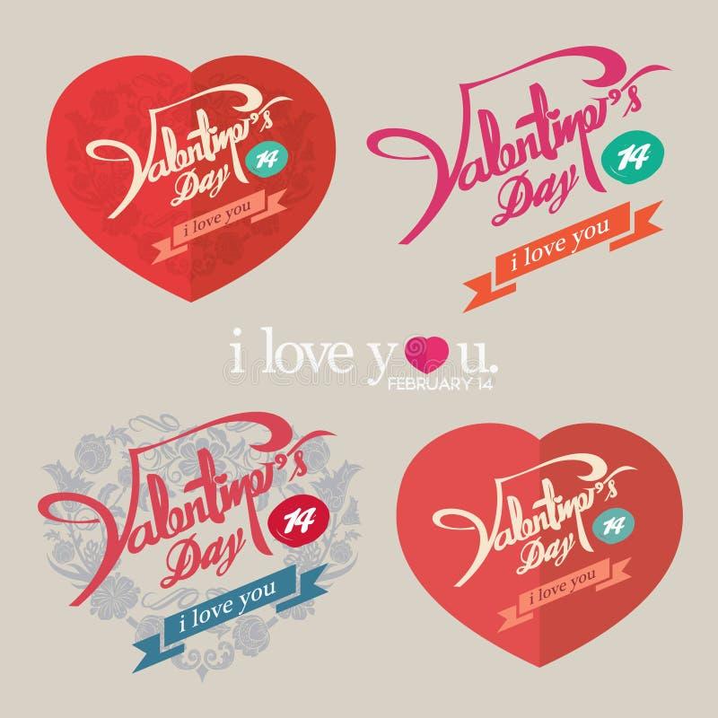 Conception de vintage de jour de valentines illustration stock