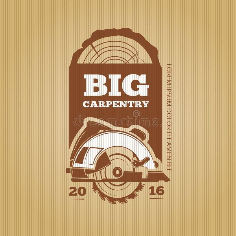 Conception de vintage de vecteur de charpentier pour l'affiche, le label, l'insigne et les T-shirts illustration de vecteur