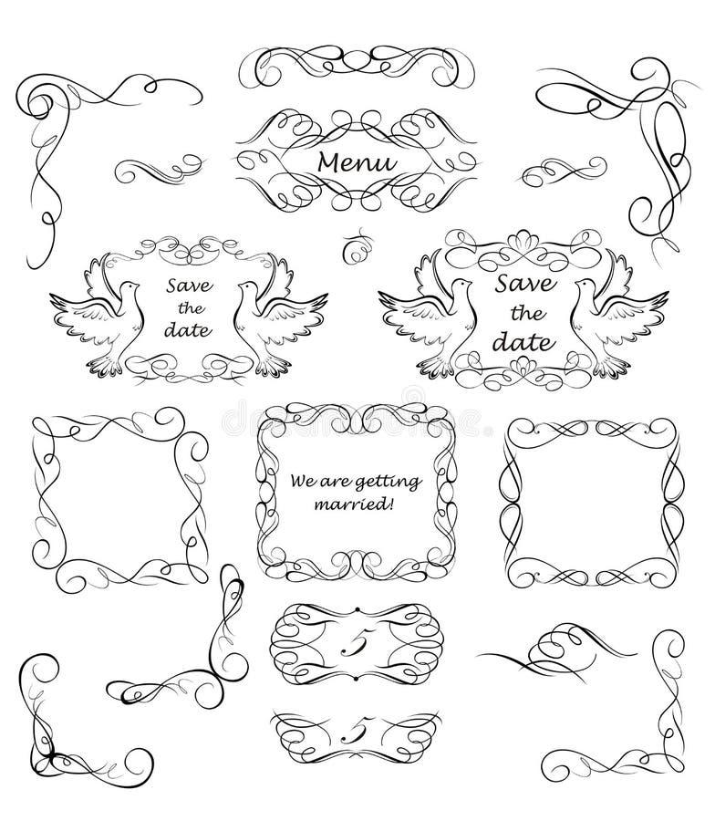 Conception de vintage pour épouser des invitations illustration stock