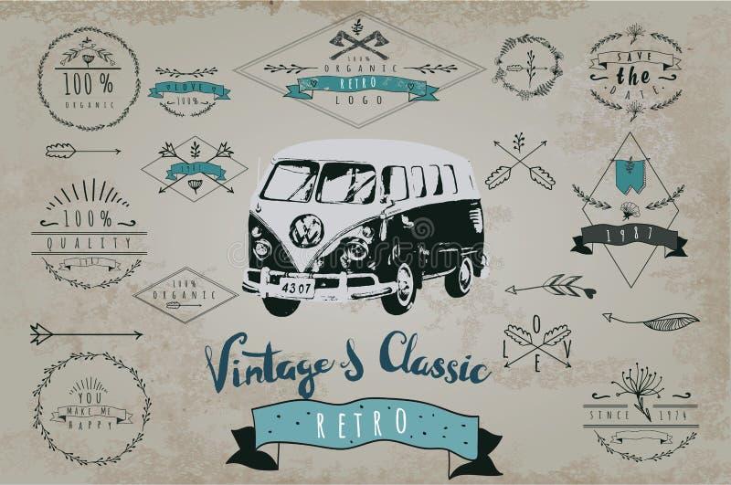 Conception de vintage pour le signe en métal, baner, annonce classique illustration stock