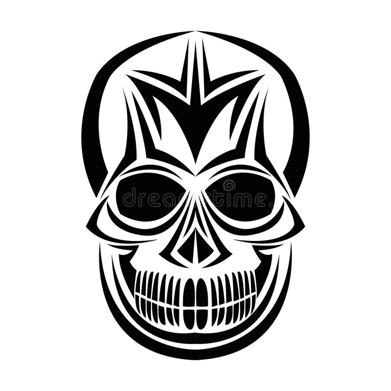 Conception de visage de tatouage de crâne illustration stock
