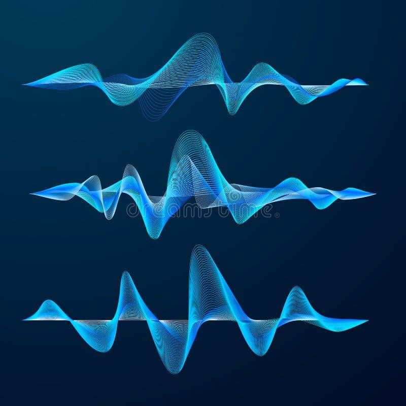 Conception de voie bleue d'ondes sonores Ensemble de vagues audio Palonnier abstrait Illustration de vecteur d'isolement sur le f illustration de vecteur