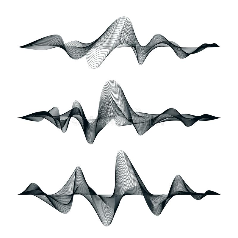 Conception de voie d'ondes sonores Ensemble de vagues audio Palonnier abstrait Illustration de vecteur illustration stock