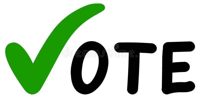 Conception de vote de mains de symboles Vote vert de coches d'élections illustration stock