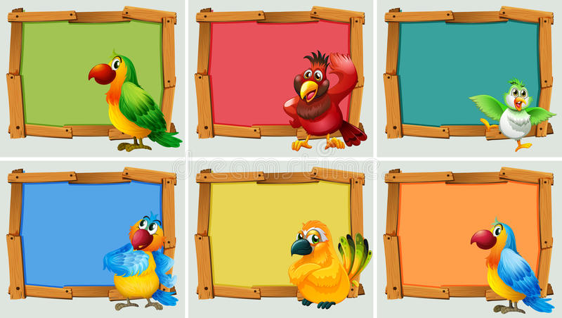 Conception de vue avec des perroquets illustration stock