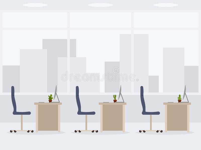 Conception de vue de côté de bureau vide moderne Illustration de vecteur de lieu de travail illustration de vecteur