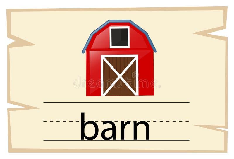 Conception de Wordcard pour la grange de mot illustration stock