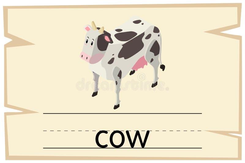 Conception de Wordcard pour la vache à mot illustration stock