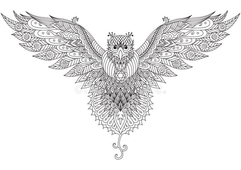 Conception de zendoodle de faucon de vol pour le graphique de T-shirt, le tatouage, le logo et la coloration d'adulte illustration libre de droits