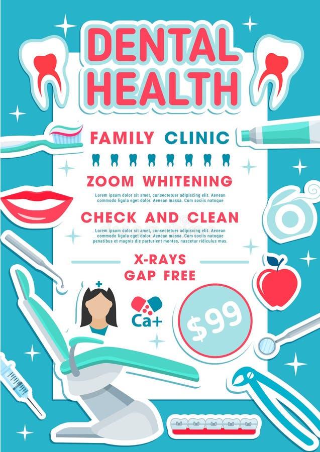 Conception dentaire d'art dentaire de bannière de clinique de santé illustration de vecteur