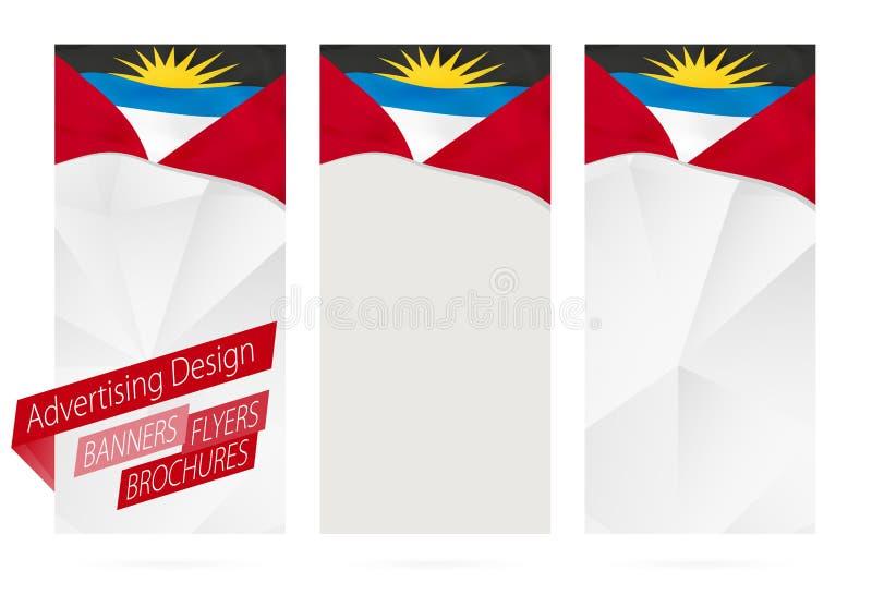 Conception des bannières, insectes, brochures avec le drapeau de l'Antigua-et-Barbuda illustration stock