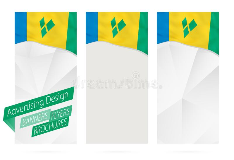 Conception des bannières, insectes, brochures avec le drapeau de Saint-Vincent-et-les-Grenadines illustration libre de droits