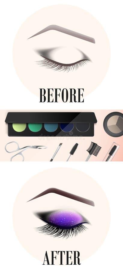 Conception des sourcils et du maquillage L'oeil femelle fermé avant et après un maquillage illustration de vecteur