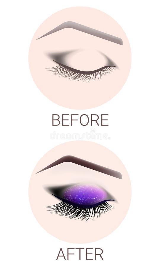 Conception des sourcils et du maquillage L'oeil femelle fermé avant et après un maquillage Extension de cil, tatouage de sourcil illustration stock