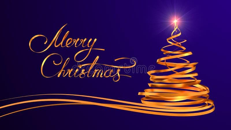 Conception des textes d'or de Joyeux Noël et de Noël illustration stock