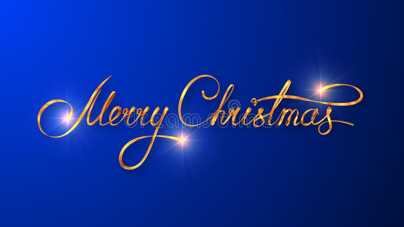 Conception des textes d'or de Joyeux Noël sur le fond bleu de couleur illustration de vecteur