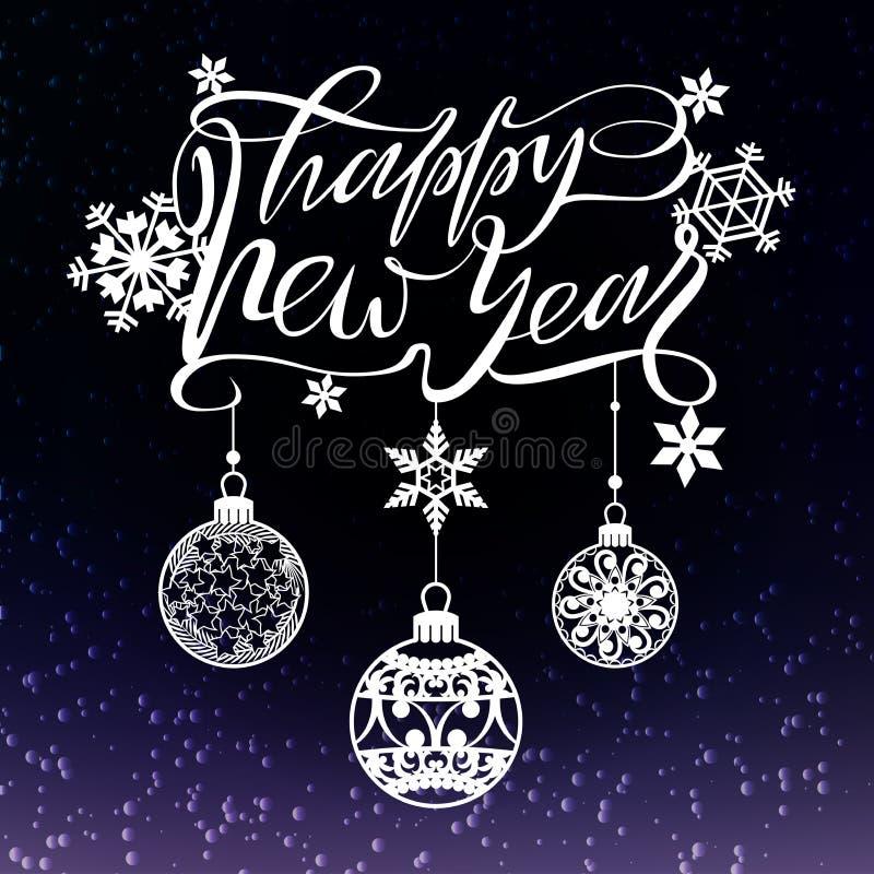 Conception des textes de bonne année pour la coupe de laser Logo de vecteur avec des éléments de Noël Utilisable comme bannière,  illustration de vecteur