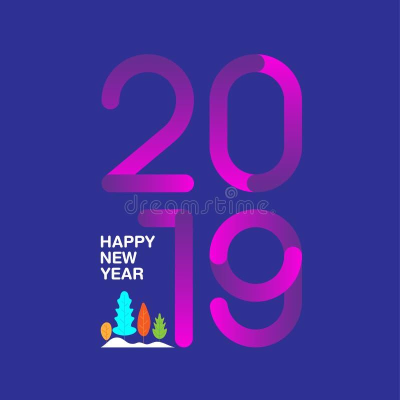 Conception des textes de la bonne année 2019 avec le style multicolore moderne Le GR illustration stock
