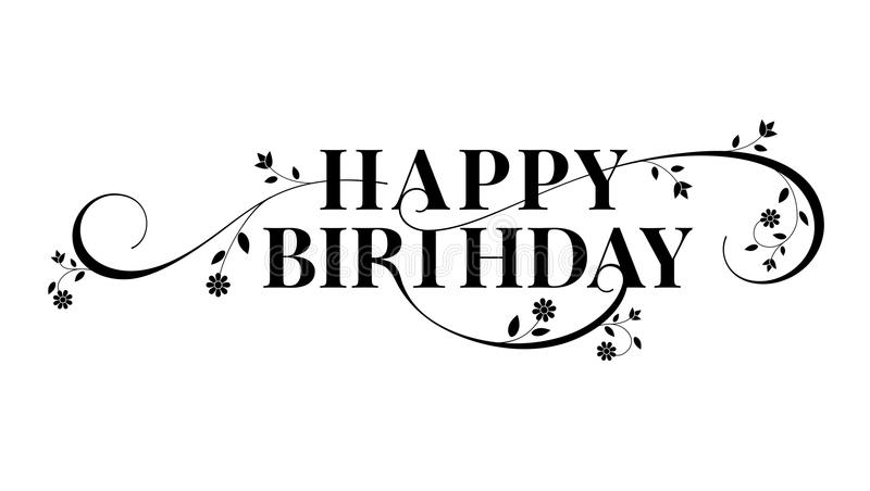 Conception des textes de lettrage de joyeux anniversaire Style décoratif floral de la calligraphie, carte d'anniversaire Invitati illustration libre de droits