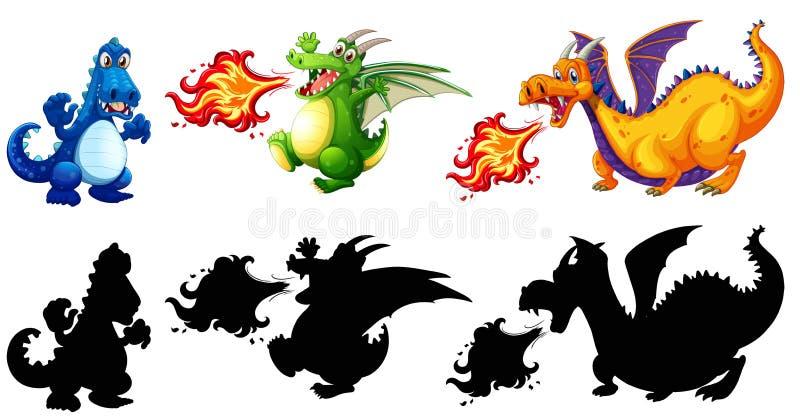 Conception différente d'ensemble de dinosaure illustration de vecteur