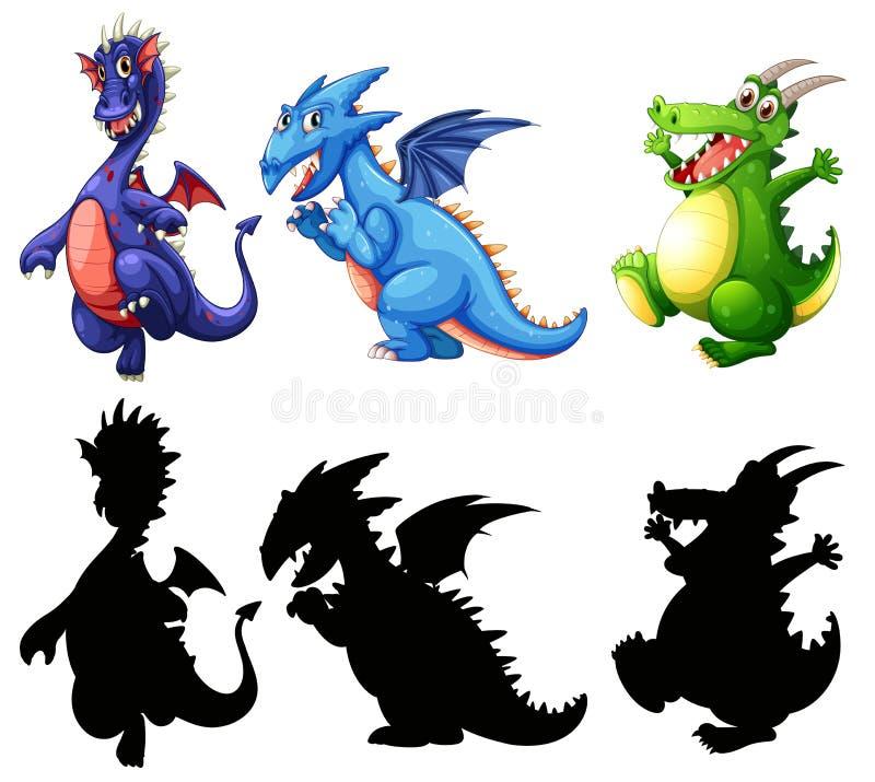 Conception différente d'ensemble de dinosaure illustration libre de droits
