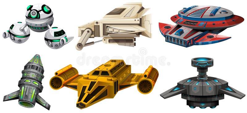 Conception différente des vaisseaux spatiaux illustration de vecteur
