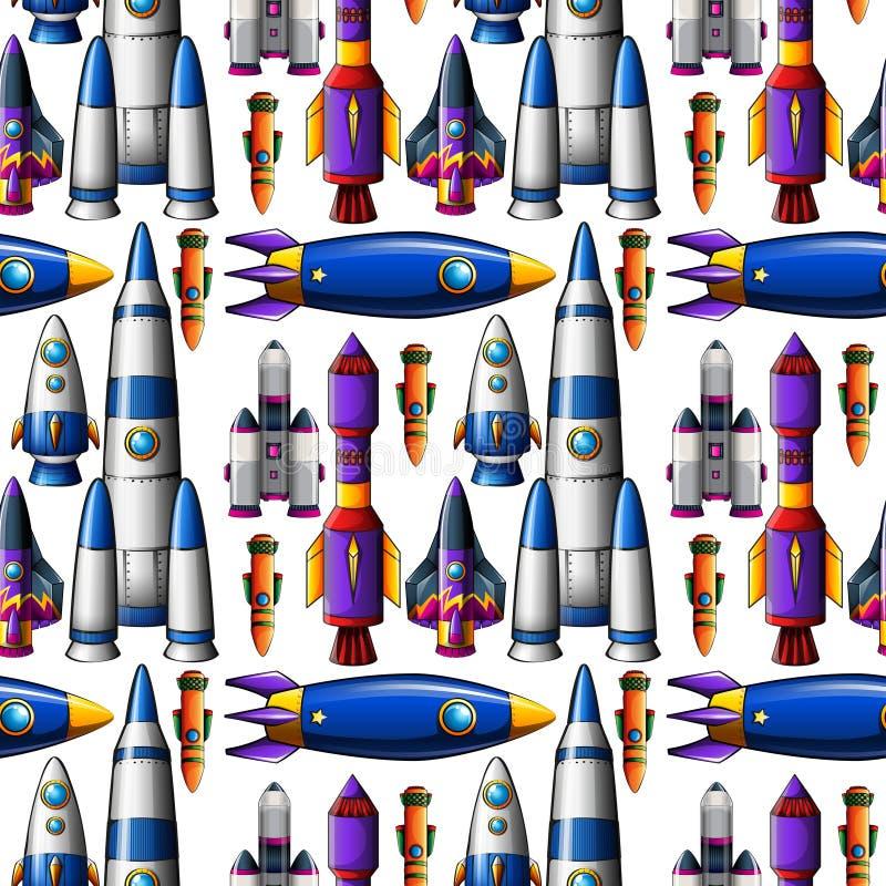 Conception différente sans couture des bateaux de fusée illustration libre de droits