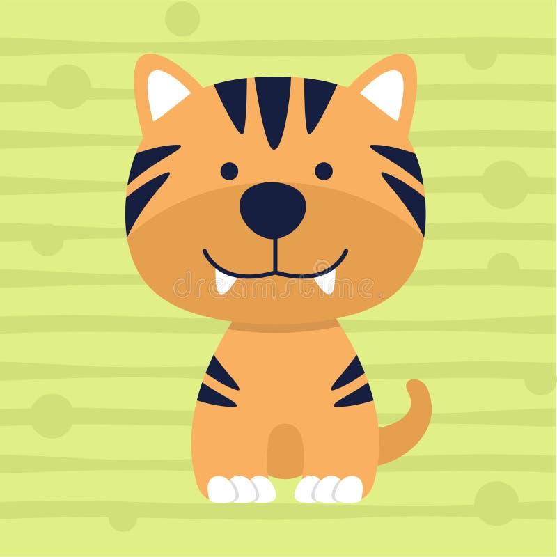 Conception douce et affiche de T-shirt d'enfants de couleur de petit tigre mignon illustration libre de droits