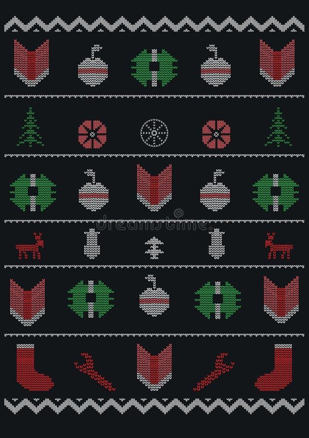 Conception drôle de T-shirt de style de Noël laid classique illustration de vecteur