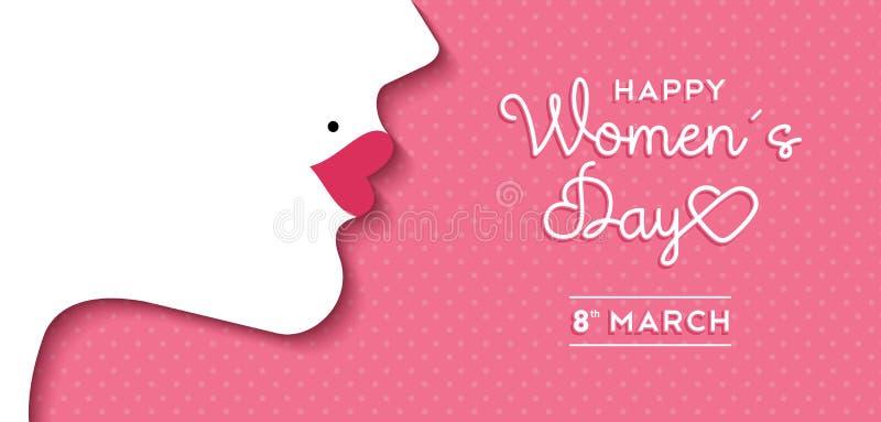 Conception du jour des femmes avec le visage de fille et le label des textes illustration stock