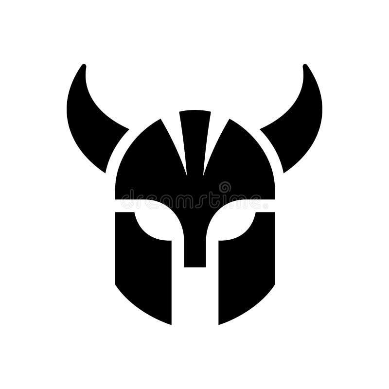 Conception du logo du casque viking Symbole de chef de guerrier Bon pour la gym, le sport ou le club de jeux - Vector illustration libre de droits