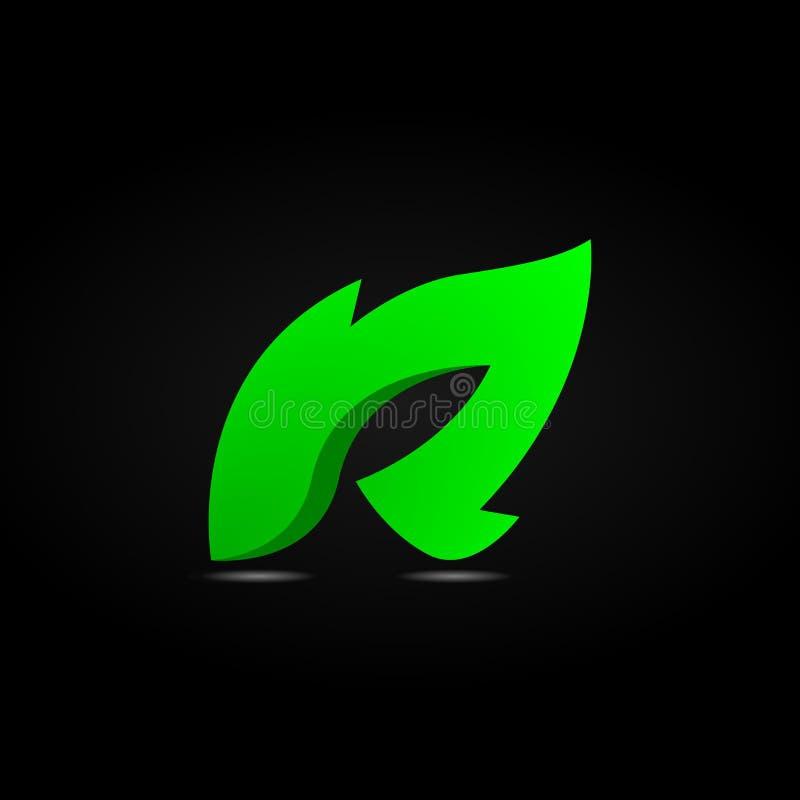Conception du logo Leaf R - Feu R illustration de vecteur