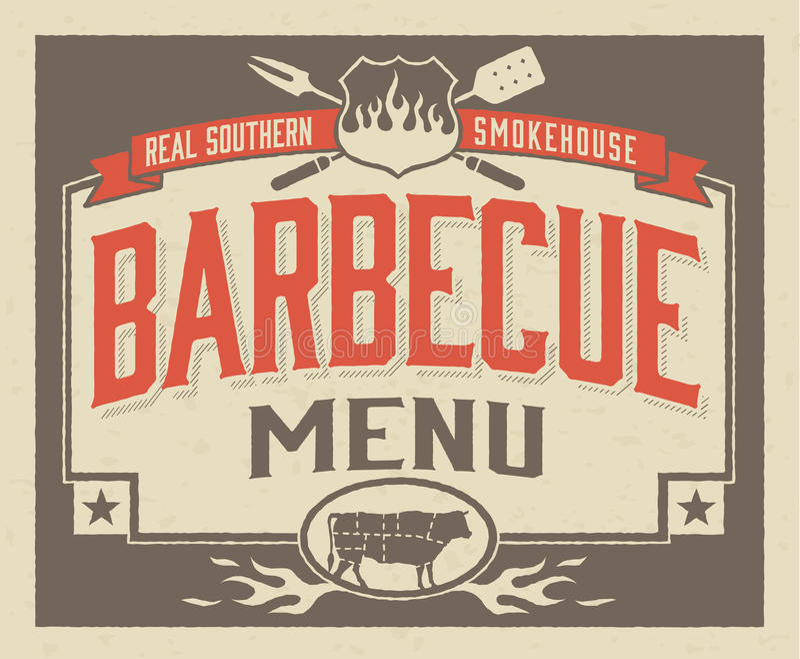 Conception du sud véritable de menu de barbecue illustration de vecteur