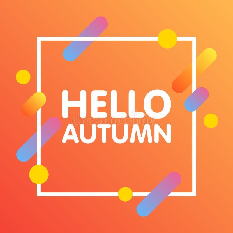 Conception dynamique plate de fond Géométrique coloré sur le fond blanc avec le cadre et bonjour Autumn Text Illustration de vect photos stock