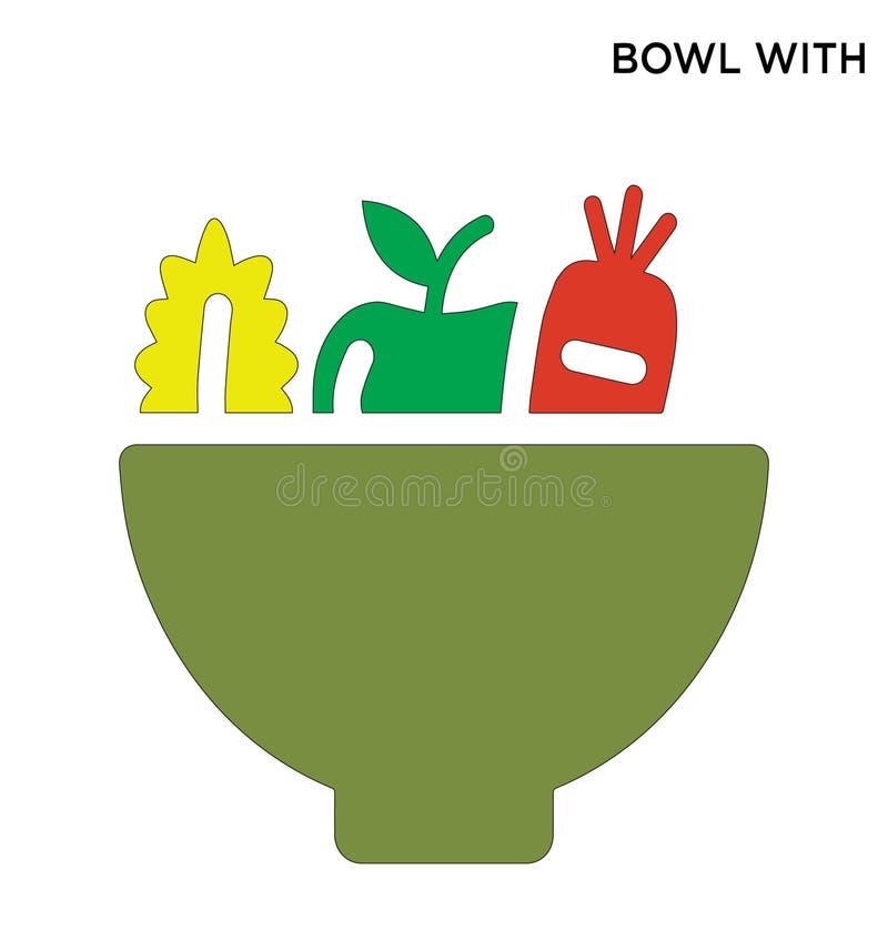 Conception editable de symbole d'icône de légumes de cuvette illustration de vecteur