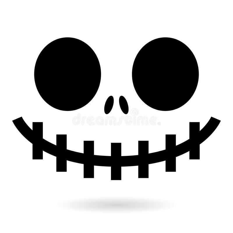 Conception effrayante de visage de fantôme ou de potiron de Halloween, icône de bouche de monstre avec les yeux fantasmagoriques, illustration stock