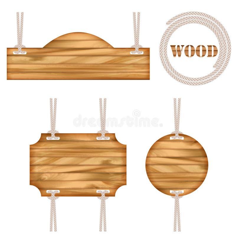 Conception en bois de corde de cadre de vecteur illustration libre de droits