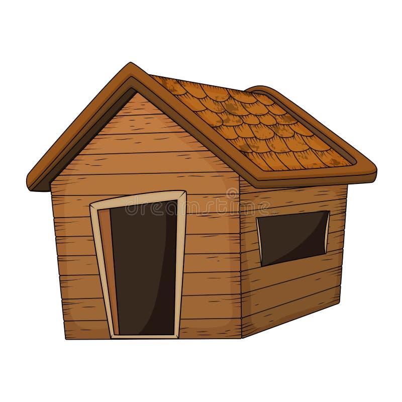 Conception en bois de vecteur de bande dessinée de maison d'isolement sur le blanc illustration de vecteur