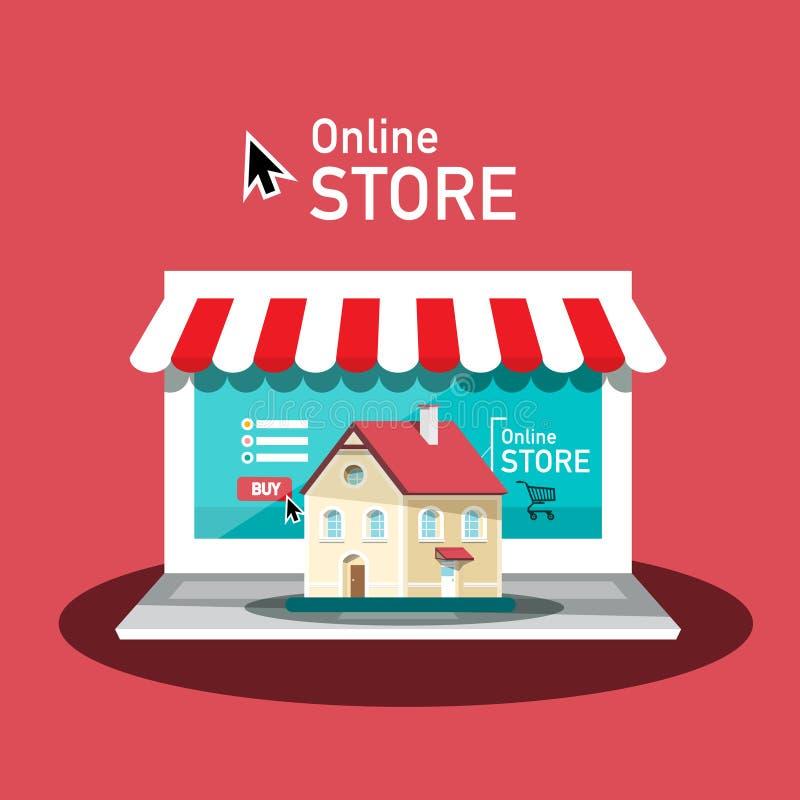 Conception en ligne de vecteur de magasin avec l'ordinateur portable et la Chambre Concept d'achats d'Internet Symbole d'Eshop illustration libre de droits