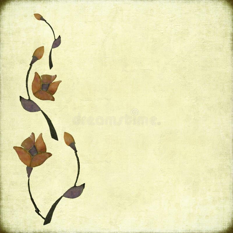 Conception en pierre de fleur sur le fond antique illustration libre de droits