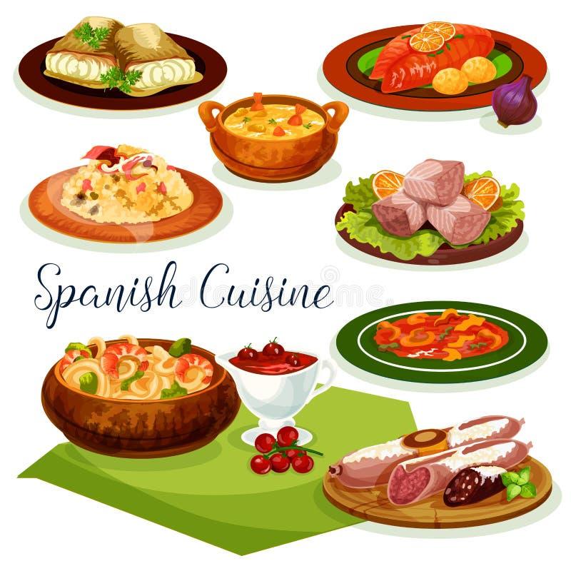 Conception espagnole d'icône de bande dessinée de menu de dîner de cuisine illustration de vecteur