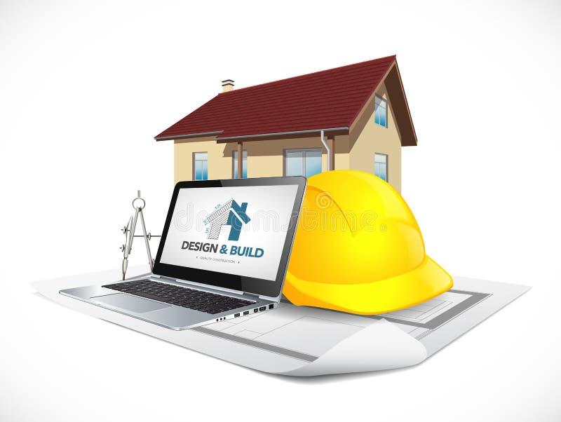 Conception et concept de construction de maison de construction - outils informatiques d'architecte illustration libre de droits