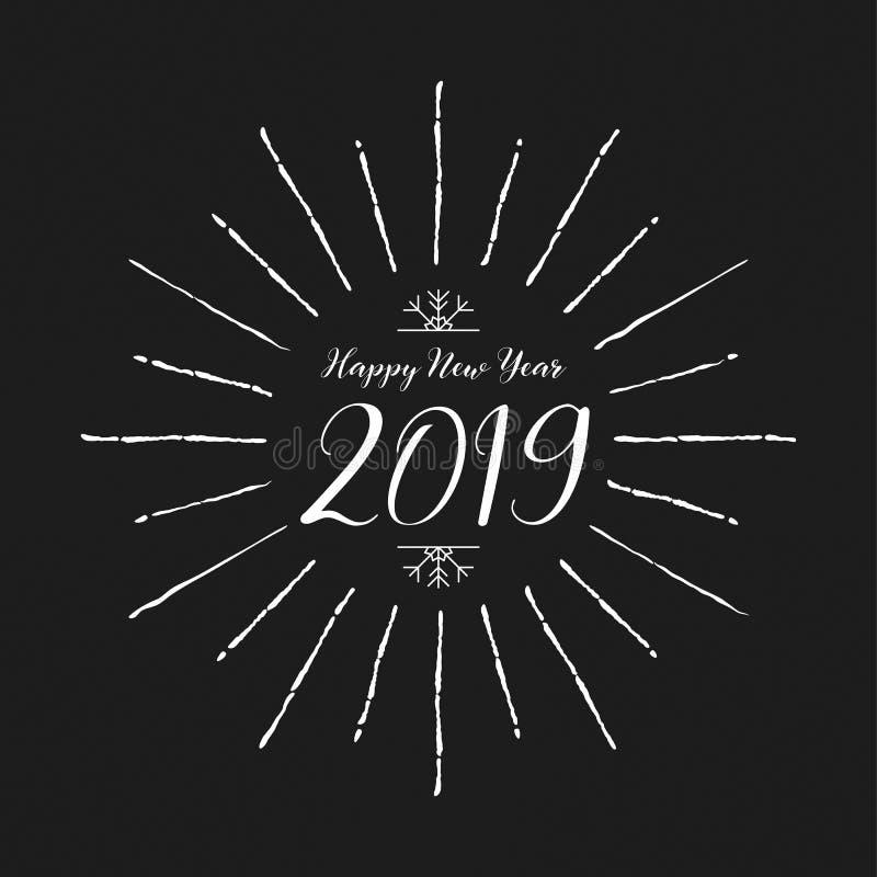 Conception 2019 et décoration de lettrage de bonne année Gree de saison illustration libre de droits