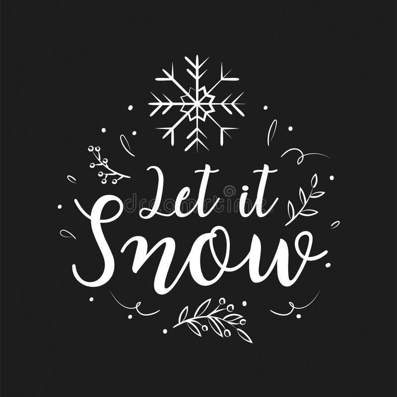 Conception et décoration de lettrage de Joyeux Noël Salutation de saison illustration stock