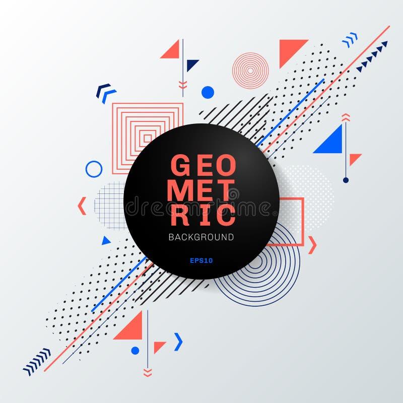 Conception et fond géométriques colorés de modèle de résumé avec le label noir de cercle Vous pouvez employer pour la conception  illustration stock
