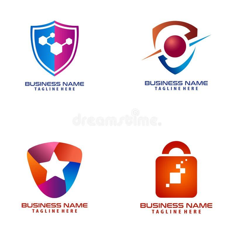 Conception et icône de logo de cyber de sécurité illustration de vecteur
